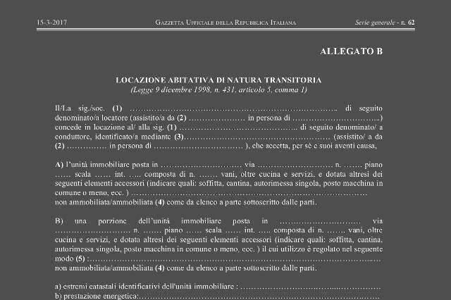 Modello contratto di affitto transitorio immo for Locazione commerciale transitoria