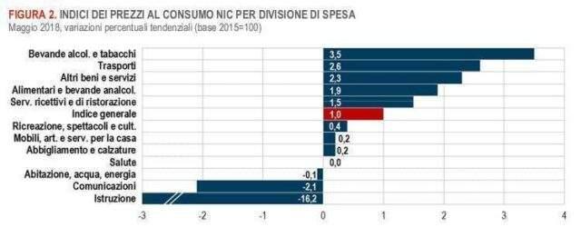 Maggio 2018 - Variazioni degli indici Istat Nic per divisione di spesa