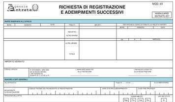 Modello 69 per la registrazione del contratto di comodato d'uso