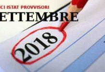 Indici Istat provvisori di settembre 2018