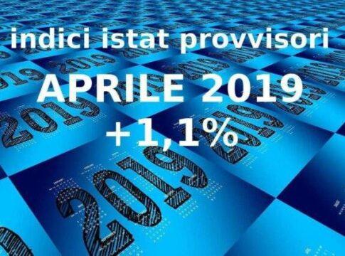 Indici Istat Nic provvisori di aprile 2019 a +1,1%