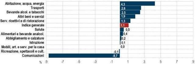 Variazioni percentuali tendenziali dei prezzi di aprile per divisione di spesa