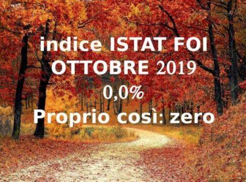 Indice Istat FOI di ottobre 2019 per le rivalutazioni monetarie defli affitti